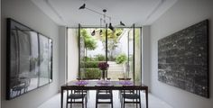 Garden & Landscape:Amazing Landscape Design: Urban And Country Landscape Stunning Urban Courtyard Landscaping Featuring Six Dining Chairs And Dining Room Put Facing The Glass Door To Get The Outdoor View Wall Treatment