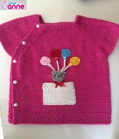 Baby vest making - Side button model - Tunisian work from my dear mother . Knitting Yarn, Baby Knitting, Piercings Ideas, Knitting Patterns, Crochet Patterns, Pull Bebe, Baby Pullover, Baby Sweaters, Kind Mode
