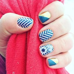 """""""My #jamicure with #fractal #princecharming and #slattedherringbone which might be my new favorite! #nofilter https://LindsStyleAndJam.jamberry.com"""""""