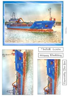 - A colorful picture of a tanker at sea. Main picture plus 2 layers to add. Pictures Plus, Colorful Pictures, Summer Birthday, Happy Birthday, Office Uk, Sewing Circles, Pink Blossom, Happy Campers