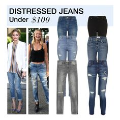"""""""Under $100: Distressed Jeans"""" by polyvore-editorial ❤ liked on Polyvore featuring River Island, Topshop, Zara, Frame Denim, Current/Elliott, under100 and distressedjeans"""