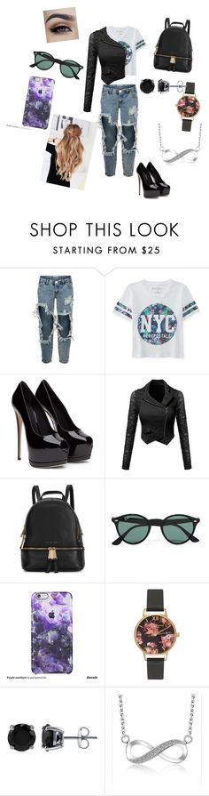 """""""...."""" by veronika-altanez on Polyvore featuring One Teaspoon, Aéropostale, Michael Kors, Ray-Ban, Olivia Burton, BERRICLE, women's clothing, women, female and woman"""