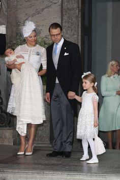 Crown Princess Victoria of Sweden holds Prince Oscar Duke of Skane and Prince Daniel, Duke of Vastergotland with Princess Estelle of Sweden are seen at Royal Palace of Stockholm for the Christening of Prince Oscar of Sweden on May 27, 2016 in Stockholm, Sweden.