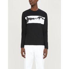 Ck Jeans Tie-dye-long-sleeve Cotton-jersey Top In Black White Ck Calvin Klein, Calvin Klein Jeans, Ck Jeans, Tie Dye Long Sleeve, Black Tops, Black White, Fashion Shirts, Mens Fashion, Sleeves