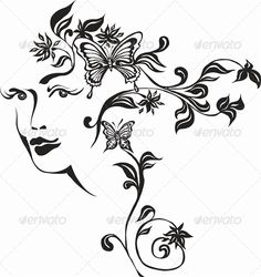 Girl  #GraphicRiver         Illustrations of abstract depicting the girl's face with hair made ??of flowers and butterflies. Black-and-white image in vector and JPG format     Created: 23June13 GraphicsFilesIncluded: JPGImage #VectorEPS Layered: No MinimumAdobeCSVersion: CS5 Tags: abstract #art #beautiful #beauty #blossom #butterflies #decoration #face #fashion #female #flower #girl #glamour #hair #head #human #illustration #leaf #lifestyle #nature #person #plant #pring #sensuality #shape…