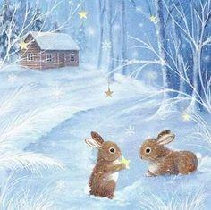Vintage Winter Bunny Scene in Blue! Christmas Scenes, Christmas Pictures, Christmas Art, Winter Christmas, Christmas Bunny, Cute Animal Illustration, Art Et Illustration, Illustrations, Bunny Art