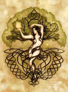 Art Print - Earth, Life, Magic by Selina Fenech-Selina, Fenech, earth, knotwork, celtic knot, tree of life, fairies, dryad, tree, woman, symbolic,Art print, fine art print, print, archival, giclee, giclée