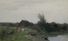 Roman Kochanowski: Nad stawem, ok. 1895 r., olej, karton, 31,1 x 50,7 cm