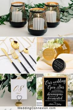 Make a statement with a timeless and classic modern black and gold wedding color scheme. Glamorous and gorgeous, get inspired with our specially hand picked decor ideas for a modern black and gold wedding color scheme that will dazzle your guests! WeddingConnexion.com Gold Wedding Favors, Gold Wedding Theme, Wedding Colours, Wedding Color Schemes, Wedding Themes, Wedding Ideas, Homemade Wedding Decorations, Gold Wedding Decorations, Black And Gold Balloons
