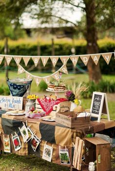 Dessert table at a Farm Themed Birthday Party
