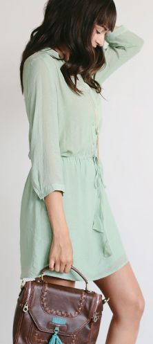 Simplistic Style| Sage Green Shirt Dress