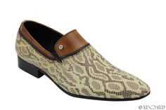 Mens New Tan Cream Real Leather Snakeskin Print Slip on Loafer Smart Party Shoes