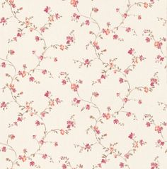 Fleurette (BTY6009 4136) - Caselio Wallpapers - A beautiful floral trail in a hand painted effect. Shown here in fuchsia pink and orange on a off white background - more colours are available. Please request a sample for true colour match. Paste-the-wall product.