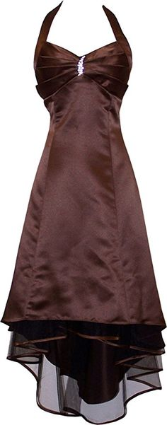 Satin Halter Dress Prom Bridesmaid Holiday Junior Plus Size, Large, Chocolate $29.99 - $99.00