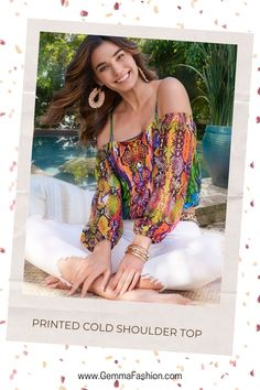 😍 PRINTED COLD SHOULDER TOP Take trendy python-print to a place that's bursting with color when you ssslither into this off-the-shoulder top. Supported by thin spaghetti straps that adjust to your ideal length, this blouson silhouette is banded at the bottom and features voluminous balloon sleeves to complete the look. #fashion #StreetStyle #apparel #shoppingqueen #onlineshopping #style #clothes #urbanfashion #casual #ootd #fashionista #fashionaddict