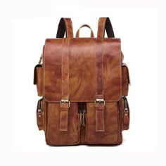 40a8732772 Men Multi-purpose and Spacious Distressed Brown Genuine Leather Backpack  with a Belt Design