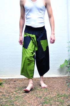 Thai Pants...Black and green..Cotton ---- New Pattern---- Unisex , samurai Pants