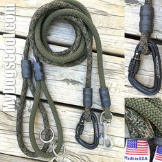Forest Camo Climbing Rope Dog Leash with 316 Stainless Steel Clip or Optional…