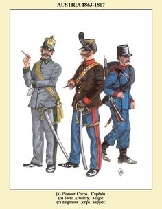 Austria; Pioneer Corps, Captain, Field Artillery, Major & Engineer Corps, Sapper, 1863-67