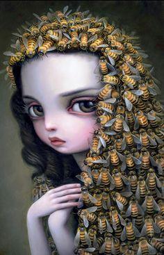 "Beautiful Bizarre Magazine — Incredible new work by Mark Ryden, ""Veil of Bees"". Mark Ryden, Arte Lowbrow, Art Basel Hong Kong, Frida Art, I Love Bees, Arte Sketchbook, Bee Art, Foto Art, Save The Bees"