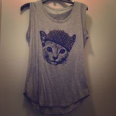 Guess sleveless cat t-shirt Cute. Lightweight cotton tee. Size medium Guess Tops Tank Tops