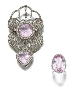 MORGANITE AND DIAMOND DEMI-PARURE Comprising: a brooch of open work design, centring on circular-cut morganite within borders of single-cut and rose diamonds, suspending a pear-shaped morganite similarly set, brooch fitting detachable, accompanied by a ring centring on an oval morganite highlighted to either side with similarly-cut diamonds,