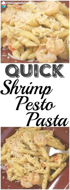 Back-to-school means busy times and quick and easy meals are a must! This Quick Shrimp Pesto Pasta is the perfect main dish recipe for busy moms! #OnePanPronto #ad @Walmart