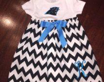 Carolina Panthers Baby Dress Gown Chevron