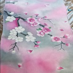 Hand painted Silk scarf Cherry Blossom #forsale on inselly.com