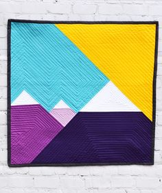Purple Mountains Majesty Mini Quilt Tutorial – Riley Blake Designs Hanging Quilts, Quilted Wall Hangings, Nancy Zieman, Barn Quilt Designs, Quilting Designs, Small Quilts, Mini Quilts, Colorful Quilts, Modern Quilt Blocks