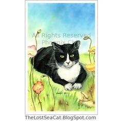 Tuxedo Cat Art LUGGAGE TAG Black and White Tuxedo by phoenixchiu, $3.95
