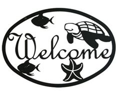 Bayou Breeze Ocean - Welcome Sign Medium Welcome Home Signs, Scroll Saw, Unique Furniture, Wooden Signs, Metal Signs, Metal Wall Art, Home Decor Accessories, Wrought Iron, Ocean