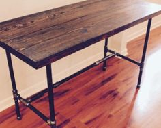 Steel and Wood Desk w/ Shelf by SteelandPine on Etsy