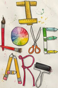 Oh, how I love to add decor to my art classroom! It's such fun to create new things like cheerful classroom posters. I illustrated this poster for my personal Art Classroom Posters, Art Classroom Decor, Art Room Posters, Classroom Door, Movie Posters, Kunst Poster, Poster S, Poster Quotes, Art Doodle