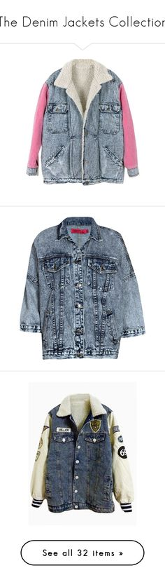"""""""The Denim Jackets Collection"""" by mon-ami-louis ❤ liked on Polyvore featuring denim, denimjacket, jacket, outerwear, coats, jackets, tops, blue coat, fleece coat and color block coats"""