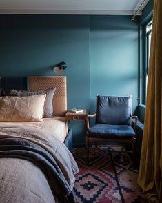 The Farrow & Ball Inchyra blue master bedroom in the eaves Blue Master Bedroom, Blue Bedroom Walls, Blue Bedroom Decor, Bedroom Colors, Modern Bedroom, Bedroom Night, Cozy Bedroom, Blue Walls, Bedroom Sets