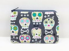 Skulls Coin Purse Little Zipper Pouch Padded Small by ZestyNotion