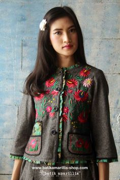 batik amarillis's parisian walkways jacket special edition! AVAILABLE at Batik Amarillis webstore www.batikamarillis-shop.com ..add polish to your tailored wardrobe! such fitted and chic jacket with quirky twist! accented with panelled detailing & contrast trims plus 3 quirky pockets! in cotton twill adorned with meticulous intricate Hungarian folk art embroidery and batik piping ...