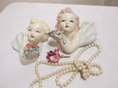 Chalkware Plaster Angels Wall Plaques Set of 2 by LuRuUniques on Etsy