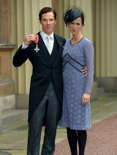 Actor Benedict Cumberbatch poses with his wife, Sophie Hunter, after receiving the Commander of the Order of the British Empire from Queen Elizabeth II for services to the performing arts and to charity at Buckingham Palace in London.   Anthony Devlin - WPA Pool , Getty Images