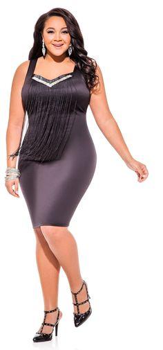 Naimah Terry in Ashley Stewart's Fringe Front Bead Neck Sheath Dress