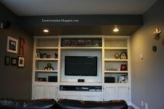 Creative Raisins: Man Room Built in TV unit Built In Tv Wall Unit, Tv Built In, Built In Shelves, Built Ins, Wall Units, Tv Shelving, Wall Unit Designs, Tv Unit Design, Garage Guest House