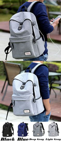 Leisure Gray Large Capacity Camping Bag USB Interface College Canvas  Backpacks for big sale!   e5ea0c21671b2