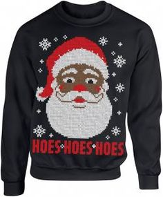 Ugly Christmas Sweater - Black Santa Black