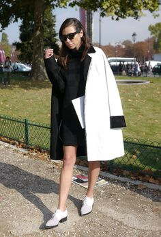 Abrigo blanco y negro CELINE
