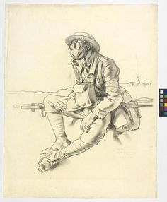 """William Orpen, 1917 ~ """"The Gas Mask"""" Stretcher-bearer, RAMC, near Arras ~ A study of a stretcher-bearer sitting beside a stretcher, his face obscured by the gas mask he is wearing. imperial War Museums."""