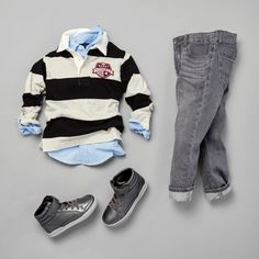 Boys' fashion | Kids' clothes | Rugby polo | Woven button-down shirt | Jeans | Hi-top sneakers | The Children's Place