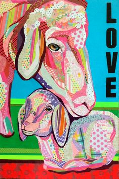 """""""Irreplaceable Ewe"""" cut paper collage by Laura Yager. on deep cradled panel. Collage Portrait, Collage Art, Paper Collages, Paper Installation, Cut Out Art, Pop Up Art, Sheep Art, 5th Grade Art, Beautiful Collage"""