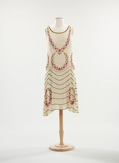 c1925 dress, Fully beaded on cotton, France.  Brooklyn Museum Collection at MMA