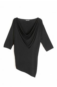 Slouchy short sleeved t-shirt featuring a draped cowl neck with asymmetric panel design.